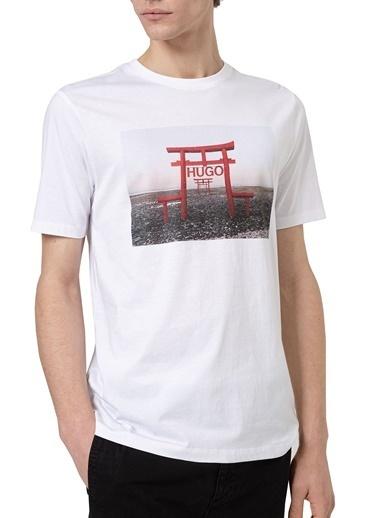 Hugo Boss  % 100 Pamuklu Bisiklet Yaka Slim Fit T Shirt Erkek T Shırt 50448967 100 Beyaz